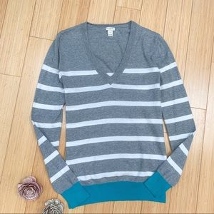J. CREW v-neck colorblock striped cotton sweater S